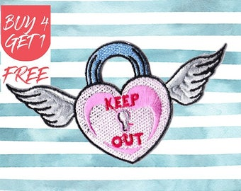 Wings Patches Angel Wings Patches Iron On Patch Embroidered Patch Keep Out Heart Locket