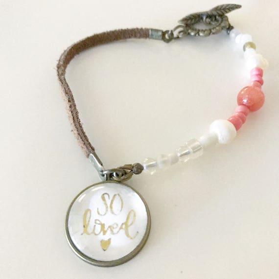 Catholic Jewelry * Catholic Bracelet * Christian Jewelry * Beaded Leather Bracelet