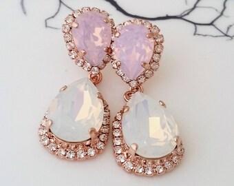 Opal earrings,White opal earrings,Pink opal earrings,Bridal earrings,Chandelier earrings,Bridal earrings,Rose gold earrings,Weddings jewelry