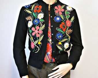 1960's Sweater Applique Black Crop Cardigan Vintage Fabulous Hand Embelished Size Small