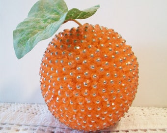 Vintage Beaded Orange Retro Artificial Fake Fruit Christmas Holiday Kitchen Home Decor