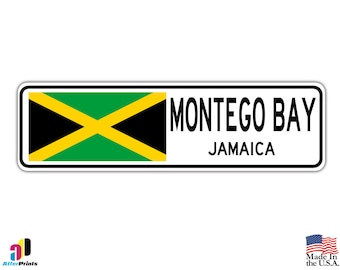 Montego Bay, Jamaica Street Sign Jamaican Flag City Country Road Wall Gift