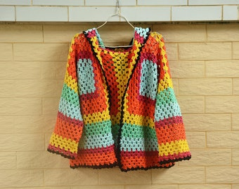 Hooded Crochet Granny Square Sweater Cardigan in Rainbow Bright Colors Oversize
