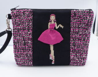 evening clutch / / original cover / / hand embroidery / / cross stitch / / zipper pouch / / kawaii bag