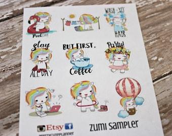 Unicorn Stickers - Unicorn Planner Stickers - Character Stickers - Zumi the Unicorn - Coffee Unicorn - Homework Unicorn Stickers - Work