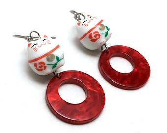 Red Retro Hoop Earrings with Ceramic Maneki Neko Cat Japanese Lucky Charm Beads