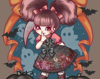 Trick Or Treat - Lolita Fashion Halloween 8.5'' x 11'' Art Print