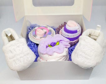 Set of cupcakes for baby girl - original baby gift