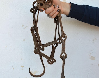 Antique Chain - Hand Forged Chain -  83 inches Chain -  Butcher Chain - Primitive Hanger - Wall Chain - Fireplace Chain - Distressed Chain