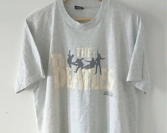 Rare Vintage THE BEATLES Rock Band Tshirt Size XL