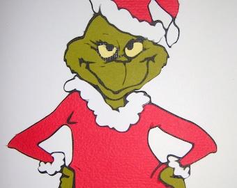 Grinch Christmas Paper Die Cut Paper Piecing Scrapbook Embellishment