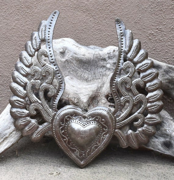 2 Hearts with Wings, Metal Wall Art, Recycled Steel, Haiti Art, Flying Heart, Tattoo Art, Winged Heart made from 55 gallon steel Barrel