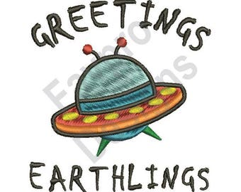 Greetings Earthlings - Machine Embroidery Design