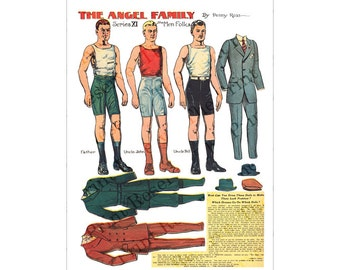 Printable Digital Paper Doll Angel Family Men Folk Penny Ross  Instant Download
