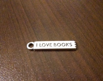10pcs - 27mm Antique Silver I Love Books Charm - Bookmark Jewelry Making Supplies - Bulk Charms - Bracelet - Necklace - Key Chain B17