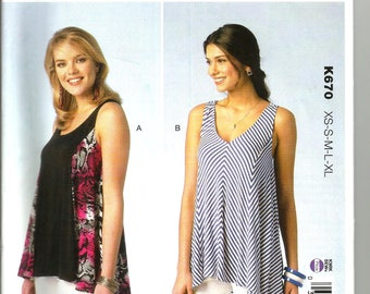 Kwik Sew 670 uncut size Xs - X large womans top designed for woven or knits