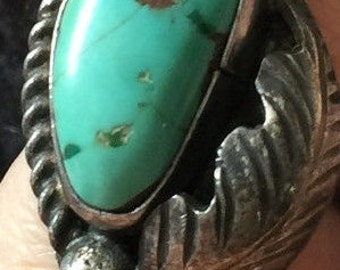 Stone Mountain Turquoise and Sterling Navajo Ring Size 6
