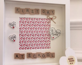 First Day Frame, Personalised First Day At School Gift, Personalised First Day Gift, First Day Picture Frame, Special First Day Gift Framed