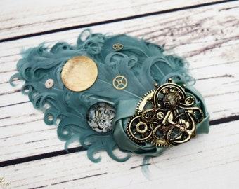 Handcrafted Worldly Sea Green Octopus Hair Clip - World Hair Bow - Steampunk Hair Accessory - Steampunk Mermaid - Wedding Hair Clip - Gears