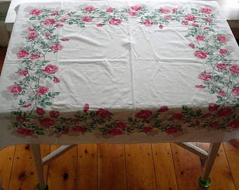 Vintage Pink Gray Green ROSES Floral Tablecloth