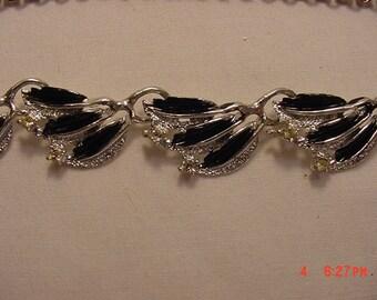 Vintage Rhinestone Accented Black Enameled Adjustable Necklace  17 - 65