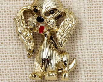 Dog Brooch Vintage Gold Gerrys Broach Vtg Pin 7T
