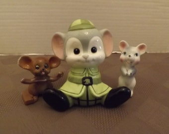 Three Assorted Mice Figurines - Unmarked