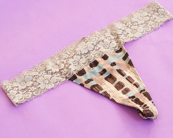Beige Patterned Lace Thong L and XL Available