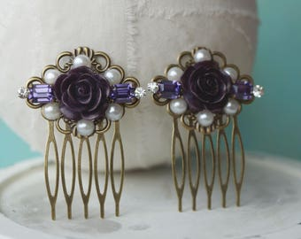 Hair Comb: Purple resin flower rhinestone and pearl hair comb set