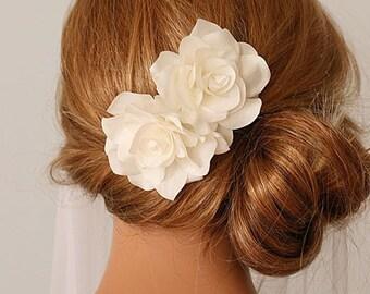 Bridal Fascinator, Bridal Head Piece, Bridal Headdress, Wedding Silk Flower, Bridal Flower Hairclip - Double Magnolia