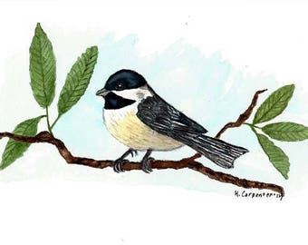 "An Original Watercolor Painting of a Black Capped Chickadee Bird -  Massachusetts and Maine State Bird  6"" x 9"""