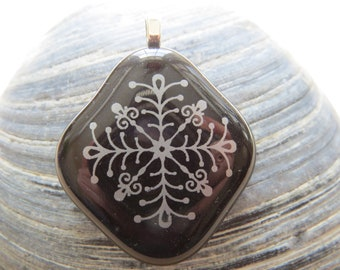 0066 - Fancy Black Fused Glass Pendant