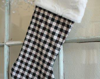 Small Black Plaid Stocking--Cream Fur Cuff #26