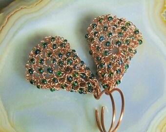 Wire crochet earrings, copper earrings, copper wire, wire crochet jewelry, unique earrings, artistic jewelry, styledonna