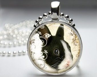Easter Bunny Rabbit (Series 2) Round Pendant Necklace with Silver Ball or Snake Chain Necklace or Key Ring