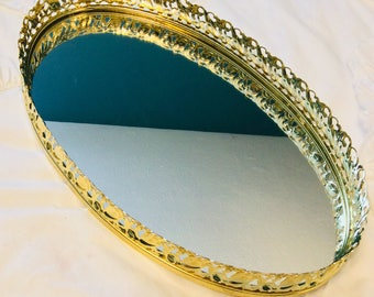 "Vintage Gold Mirror Tray Large Floral Lilly Plants Filigree Dresser Vanity Tray 13"" Gold Plated"