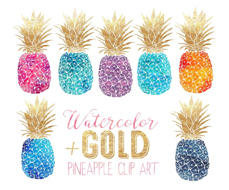 Pineapple clip art Gold foil watercolor pineapples multi