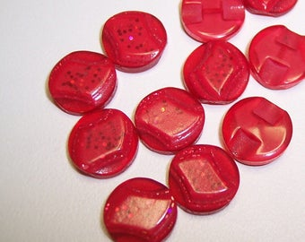 """13 Red Glitter Rectangle Top Round Buttons. Size 7/16"""""""