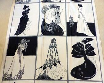 Vintage Art Nouveau Aubrey Beardsley Fabric Lady Panels - Yardage - NOS