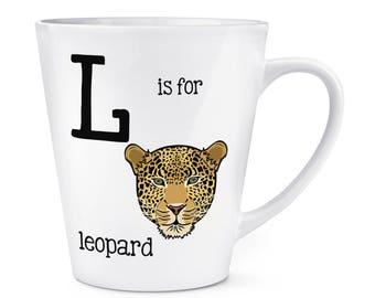 Letter L Is For Leopard 12oz Latte Mug Cup
