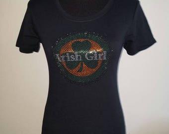 "Rhinestone Studded ""Irish Girl"" T Shirt"