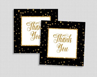 Black & Gold Favor Tags, Black and Gold Glitter Confetti Shower Party Favor Tags, INSTANT PRINTABLE