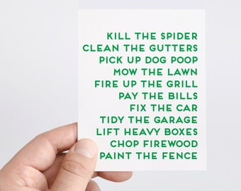 Funny Fathers Day Card From Wife | Spiders | Grill | To Do List | Honey Do List | Card For Husband | Card For Dad | Fathers Day Card List