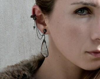 Bohemian FEATHERS, cuff earrings, arrow earrings, ear cuff, hippie jewelry, old silver dangle earrings, rustic earrings, dangling feathers