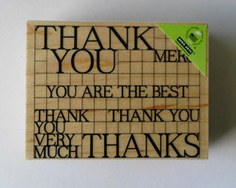 Thank You Stamp, Large Thank You Stamp, Wood Mounted Rubber Stamp, Hero Arts Thank You Grid Stamp, Merci Stamp, Thanks, You Are The Best