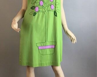 Vintage 70s Hippie Boho Shift Dress// Tree of life dress// Appliqué Vintage Dress Large (F1)