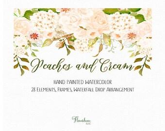 Cream hydrangea clipart, wedding watercolor clipart, peach floral clipart, cream peony clipart, peony flower clipart, peach roses clipart