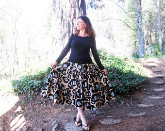 vintage full skirt Jewel fabric tiered swing skirt M/L/XL