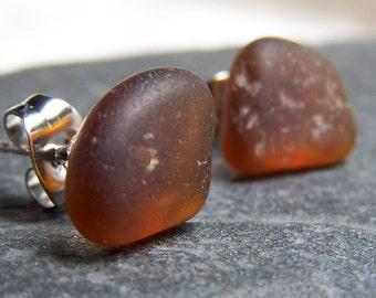 ROOTBEER CANDIES- Sea Glass POST Earrings