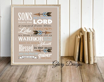 Printable, Son printable, Father's Day, Bible Verse, Scripture art, Psalm 127:3-5, Sons are a Heritage from the Lord, Scripture printable